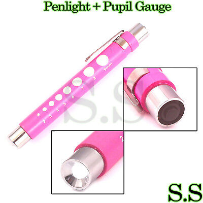 Led Medical Diagnostic Reusable Penlight Pupil Gauge Pink