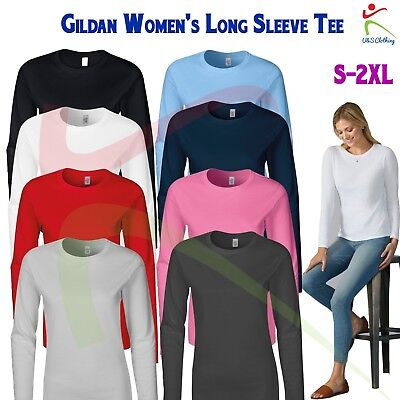 GILDAN Softstyle Women's Long Sleeve T-Shirt Ladies Fitted Tee Soft Jersey T