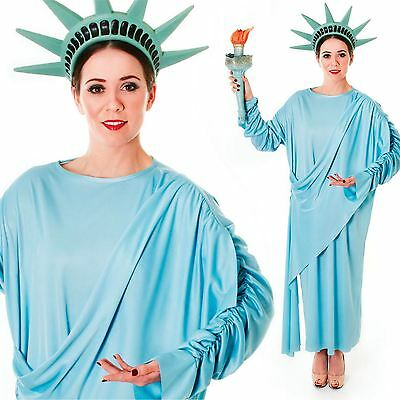 Statue of Liberty Ladies Fancy Dress American Novelty Womens Costume Outfit New - Statue Of Liberty Outfit