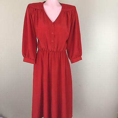 Vintage Vtg Womens A Line Shirt Dress Career Secretary Geek Red 3/4 Sleeve Sz8