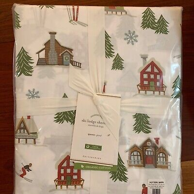 NWT Pottery Barn ~SKI LODGE~ QUEEN Sheet SET ~CHRISTMAS~ Alpine SNOWMAN Buffalo Alpine Sheet Set