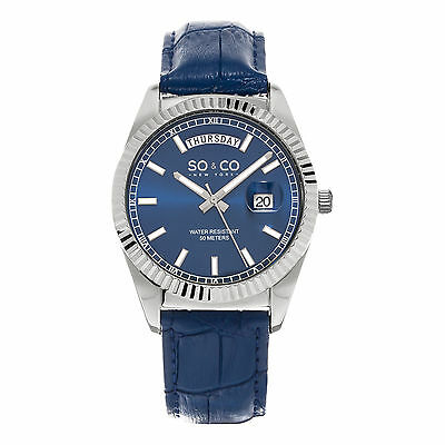 So   Co Mens 5041 2 Madison Stainless Quartz Day Date Watch Blue Leather