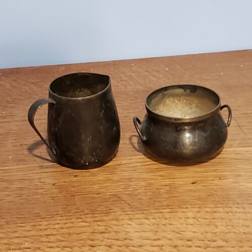 "VINTAGE Silver Plate PITCHER Creamer 2"" Two Handled Pot BOWL Urn SUGAR"