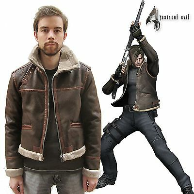 RE4 RESIDENT EVIL 4 LEON KENNEDY'S Faux Pleather Fur Brown Jacket Halloween](Halloween Leone)
