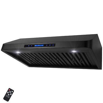 "36"" Under Cabinet Black Stainless Steel Touch Panel Kitchen Range Hood Cook Fan"