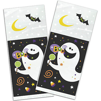 20 Haunted Halloween Party Happy Ghost Spook Cellophane Favour Gift Bags