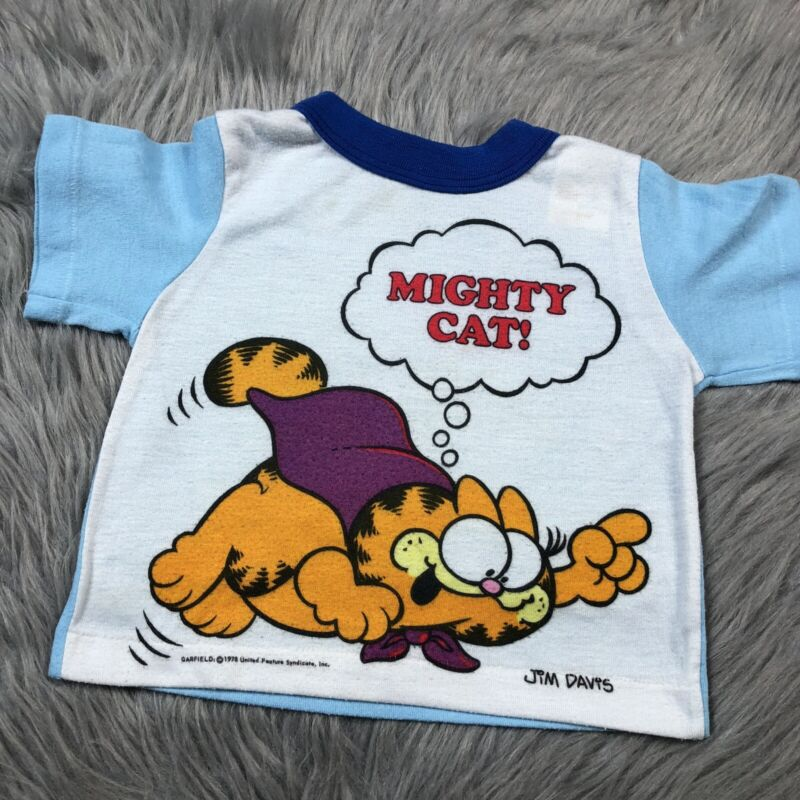 Vintage 1978 Toddletime Toddler Garfield Mighty Cat Sleep Pajama Shirt