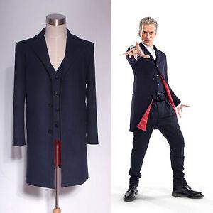 Doctor Who 12th Dr. Dark Blue Frock Coat + Vest Set Costume  Custom Made