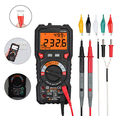 6000 Counts Digital Multimeter Trms Ac Dc Voltage Tester With Test Leads Clip