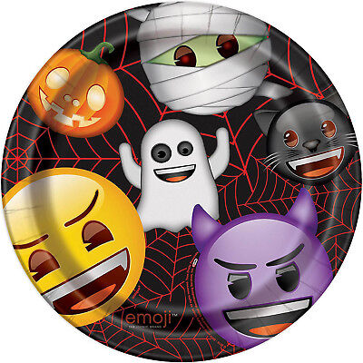 8 Halloween Party Monster Emoji Children's Party Large 9in Paper Dinner Plates ()