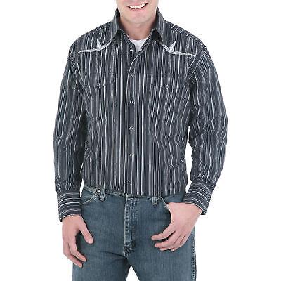 b6c410193d6 WRANGLER Mens EMBROIDERED YOKE Shirt - 2XL - Black Gray - 75940BK