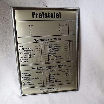 alte Getränkekarte Preistafel Bier Spirituosen Wein Getränke Karte Preisliste DM