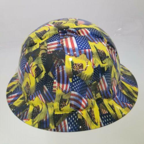 FULL BRIM Hard Hat custom hydro dipped , NEW DON'T TREAD ON ME , USA FLAG 2