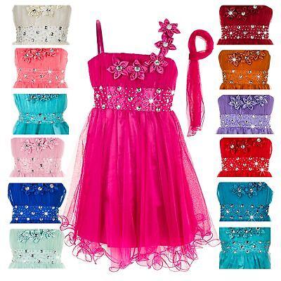 Festliches Mädchen Kleid mit Stola Blumen Sommerkleid Hochzeit Feier NEU ()