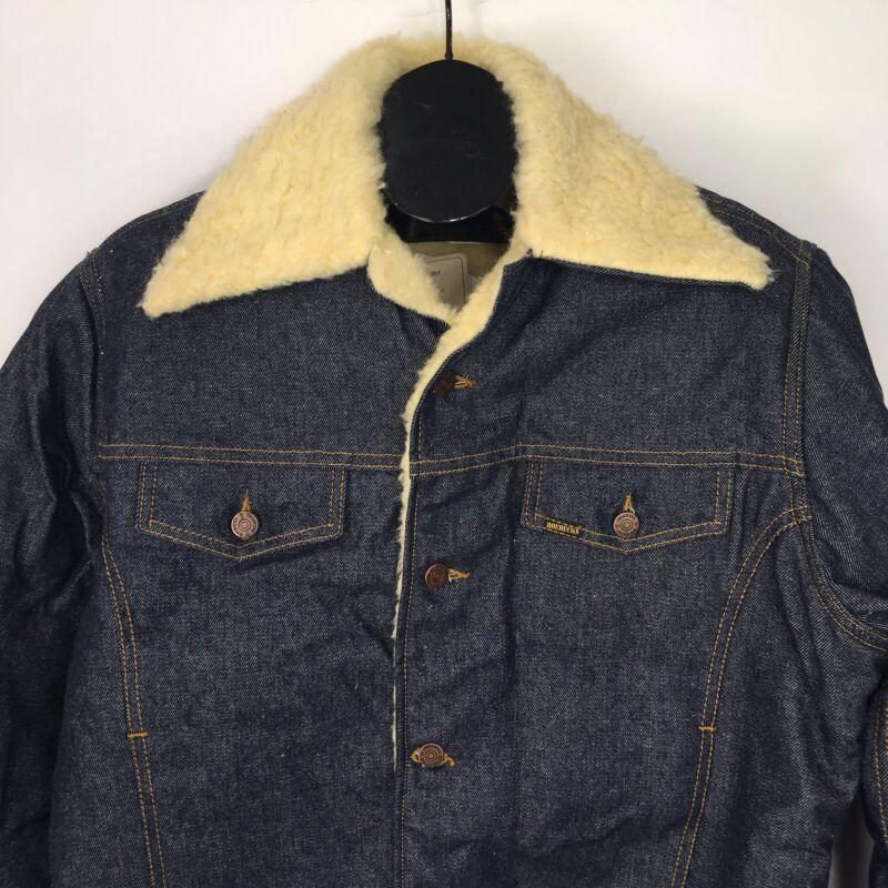 Vtg Sears Roebucks Western Wear Denim Sherpa Shearling Coat Jacket 44R NOS