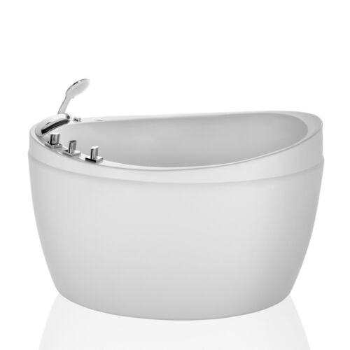 EMPAVA 59 in. Freestanding Air Jets Bathtub Mirco Bubble Hydrotherapy Oval tub