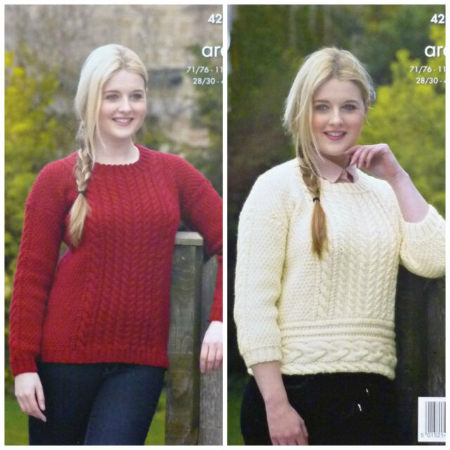 KNITTING PATTERN Ladies Round Neck Cable & Cable Welt Jumper Aran King Cole 4239
