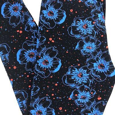 NEW PLUS Size Floral Print Leggings Super Soft Pants 12-18 Black Red Blue TC Floral Print Leggings