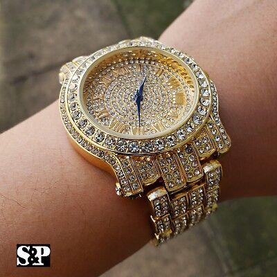 Men Best Hip Hop Iced out Bling Gold PT Blue Hands Bling Simulated Diamond