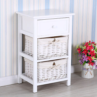 Retro Ivory Wood Shabby Chic Nightstand End Bedside Table with Wicker Baskets