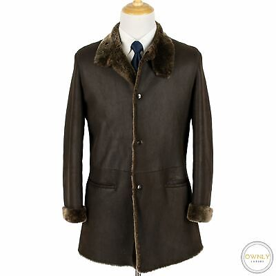 Armani Collezioni Carob Brown Leather Shearling Fur Lined Top Stitch Coat 38US