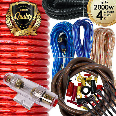 Car Audio  4 Gauge Cable Kit Amp Amplifier Install RCA Subwoofer Sub Wiring New 4 Gauge Single Amplifier Wiring