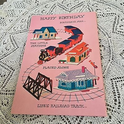 Vintage Greeting Card Birthday Train Track Pink - Pink Train Track