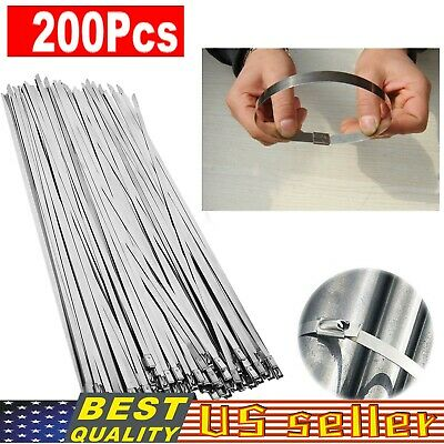 200 Pcs 304 Stainless Steel 12 Exhaust Wrap Coated Metal Locking Cable Zip Ties