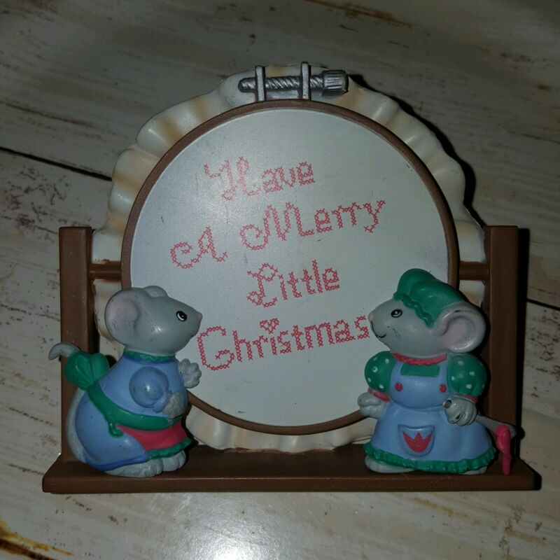 Vintage Christmas nightlight Have A merry little Christmas mice (OR)
