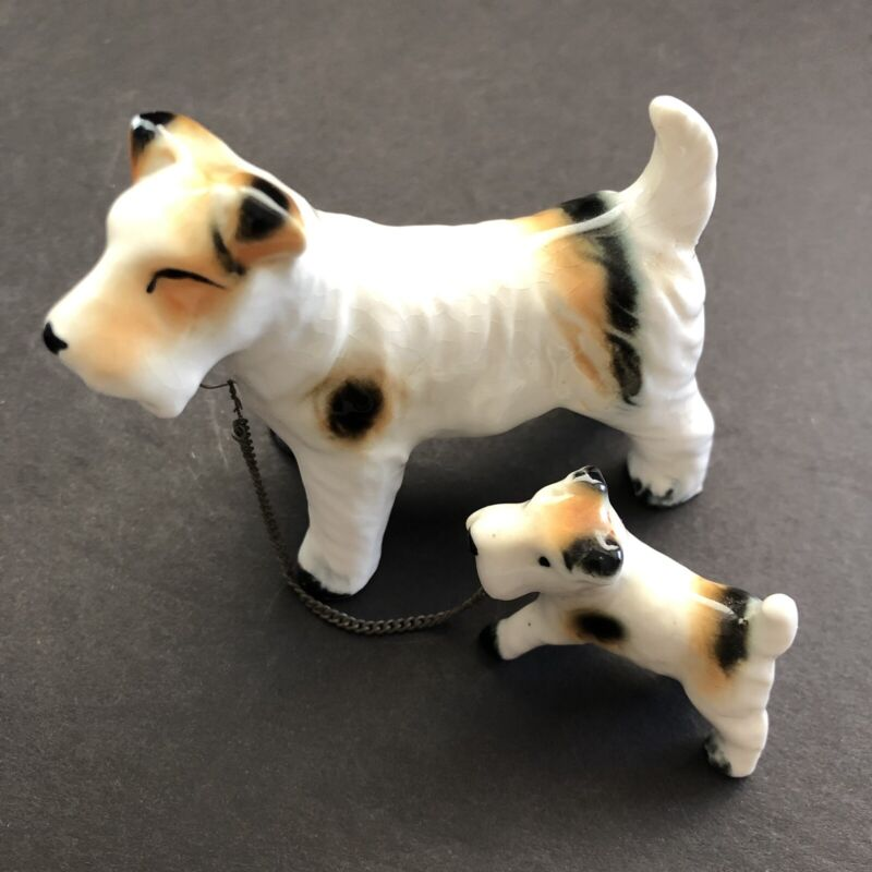 Terrier Schnauzer Mother Dog and Puppy with Chain Vintage Porcelain