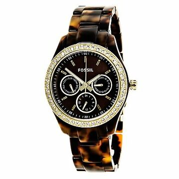 Fossil ES2795 Women's Stella Brown Dial Resin Bracelet Watch