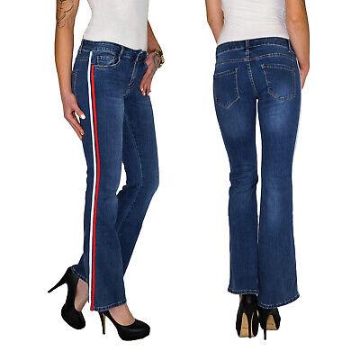 Damen Bootcut Schlag Hose Straight Leg Kick Flare Jeans Mit Seitenstreifen E201 Hose Flare Jeans