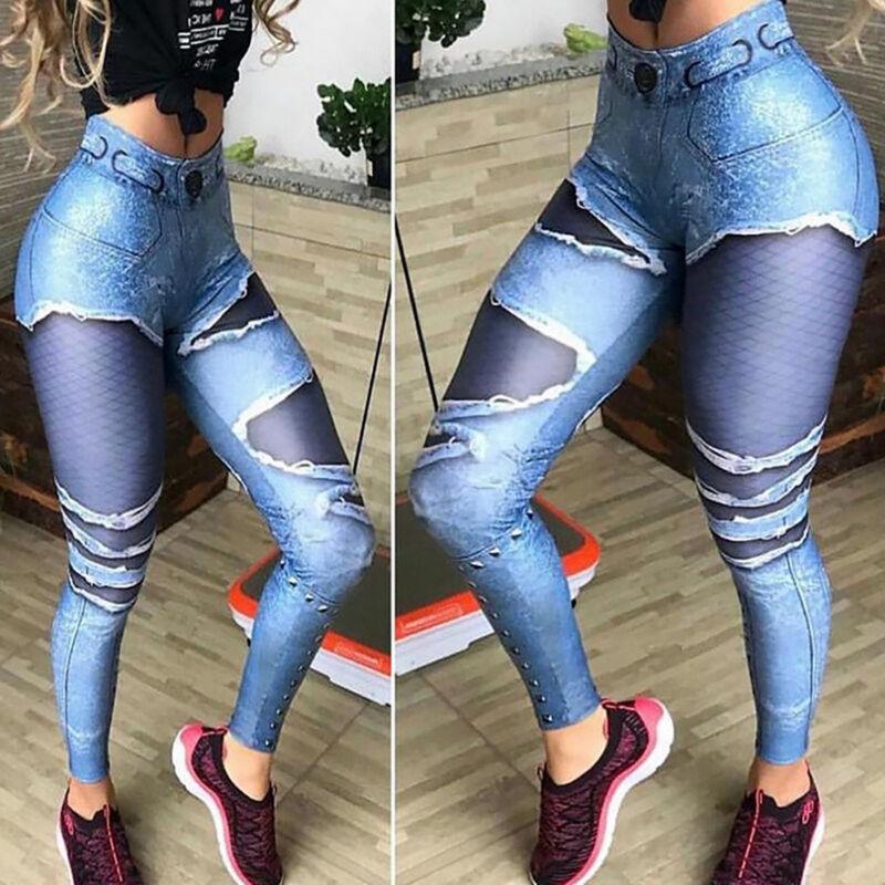 Damen Stretch Yoga Hose Jeans-Look Slim Skinny Fitness Leggings Leggins Laufhose