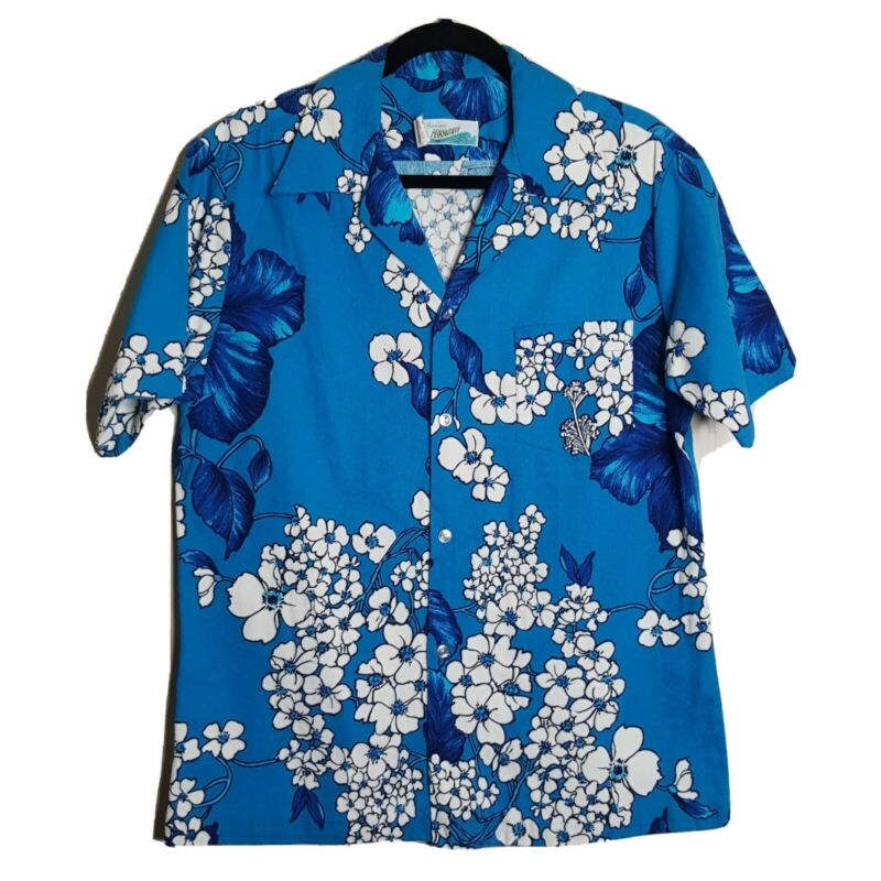 VTG Large Hawaiian Shirt Penneys Hawaii Label Cotton Barkcloth MOD Floral Blues