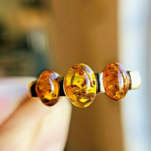 14K Gold Genuine Russian Baltic Amber Ring Size 7,5 Butterscotch Egg Yolk 老琥珀