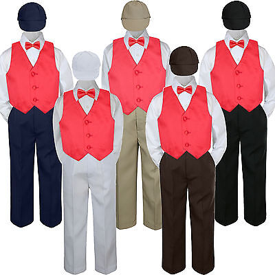 5pc Boys Suit Set Christmas Red Vest Bow Tie Baby Toddler...