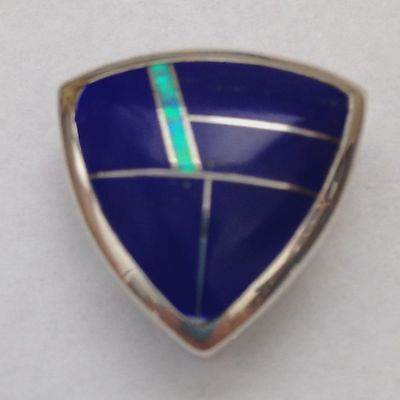 Sterling Silver Handmade Inlay Shield Oval Triangle Pendant