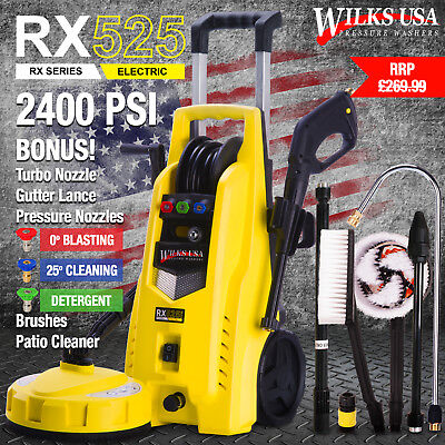 Wilks-usa Electric Pressure Washer - 2400 Psi 165 Bar Jet Power Patio Cleaner