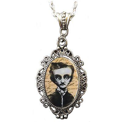 Edgar Allan Poe Halloween Cameo Necklace Costume Jewelry Accessory Teacher Gift - Edgar Allan Poe Halloween Costumes