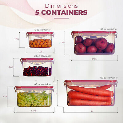 Food Storage Plastic Containers Reusable with Lids square 5 Piece Set, BPA-Free. Square Food Storage Set