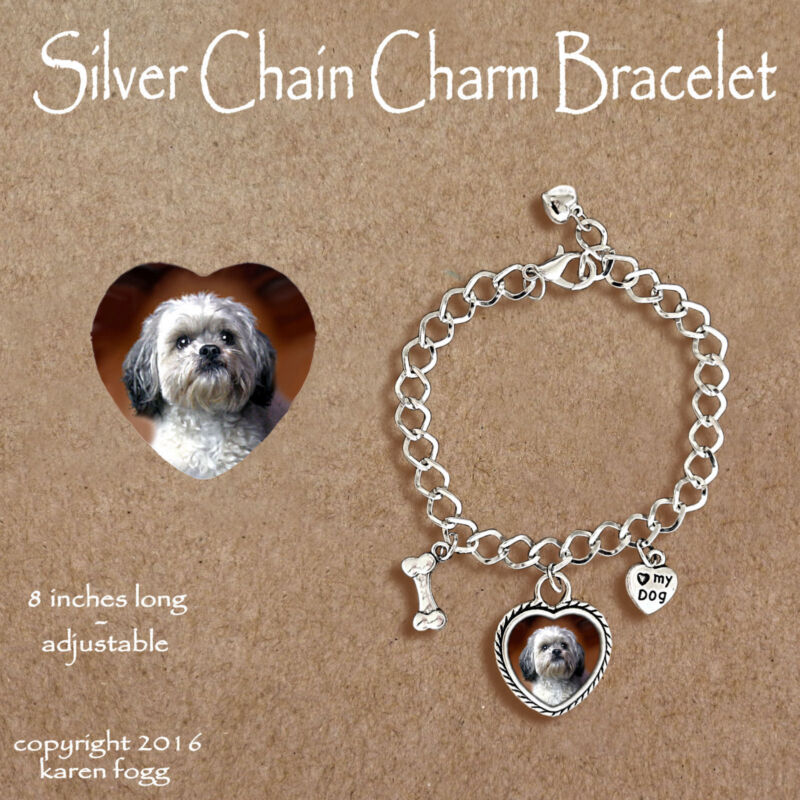 LHASA APSO DOG Sweet Face - CHARM BRACELET SILVER CHAIN & HEART
