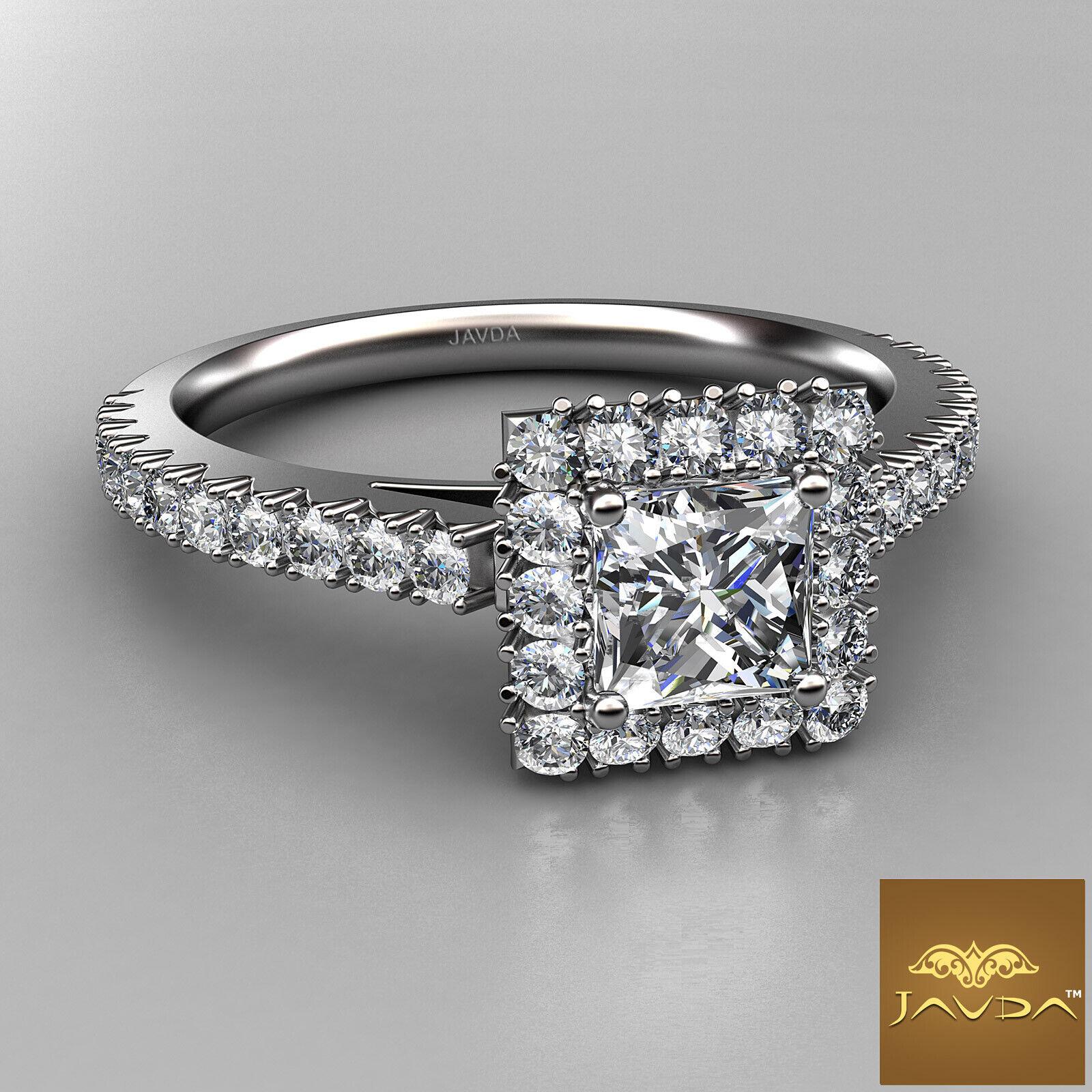 2.04ctw Halo French Pave Princess Diamond Engagement Ring GIA F-VS1 White Gold 1