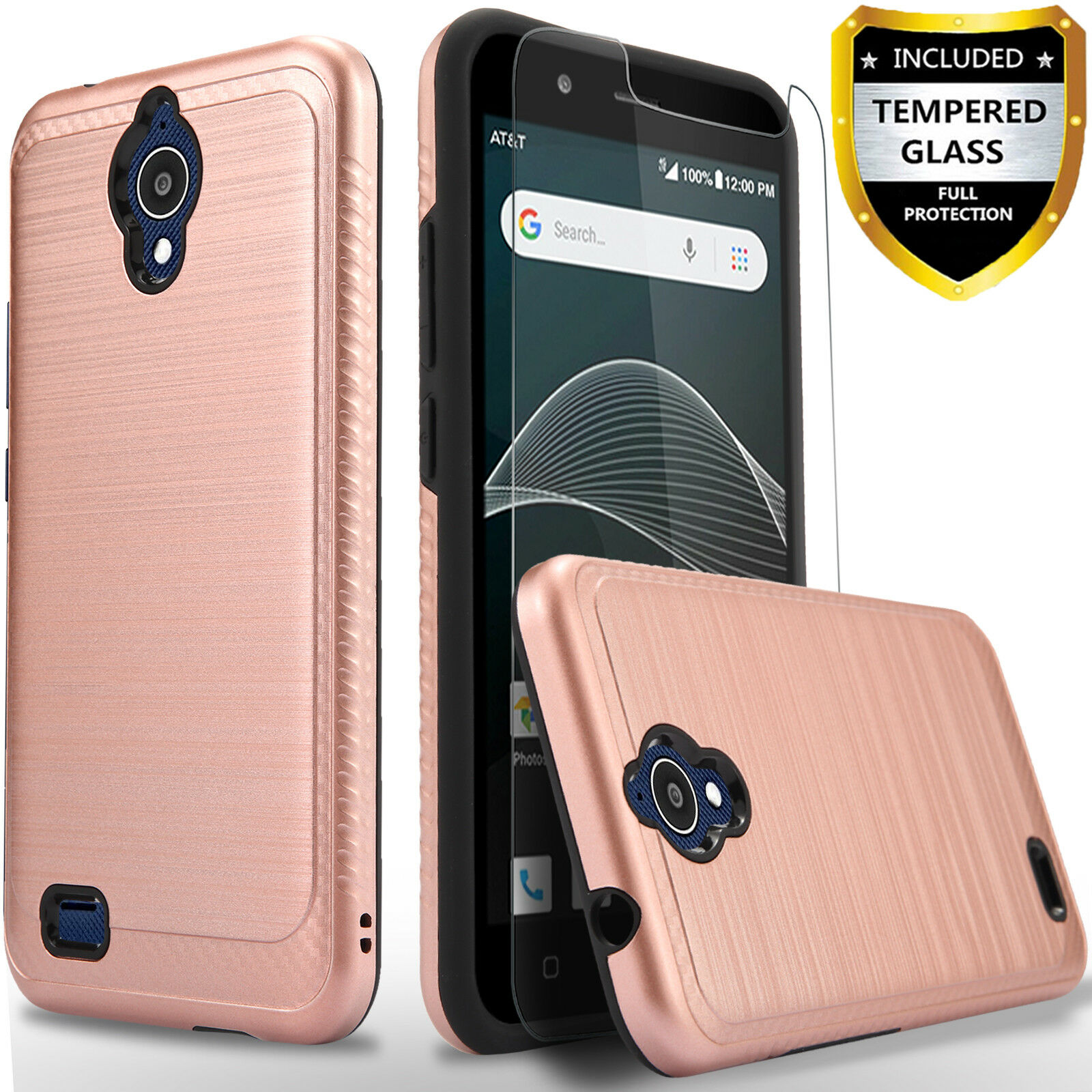 For AT&T Axia QS5509 Phone Case,Shockproof Cover+Tempered Gl