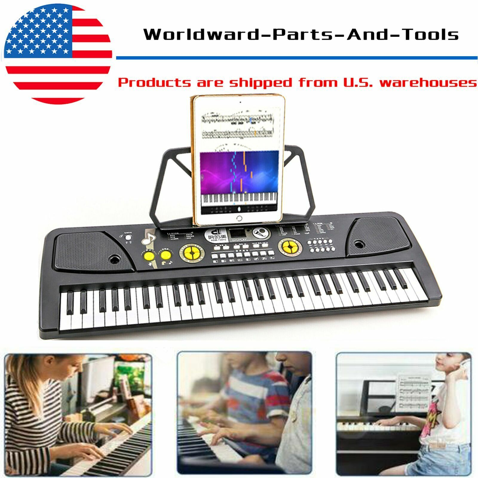 Potable 61 Keys Electronic Keyboard Digital Music Piano w/ M