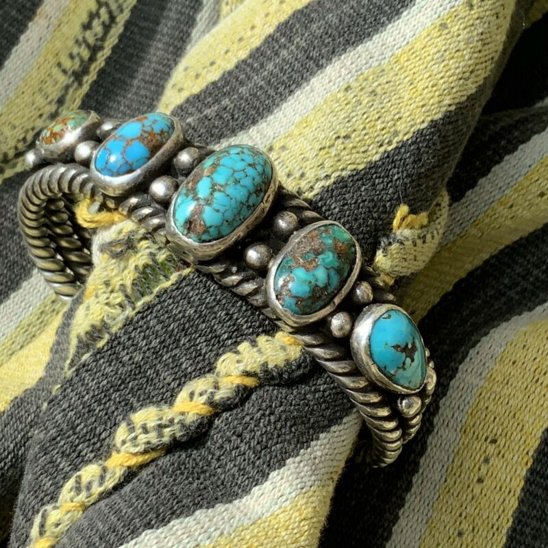 1920s Navajo Native Indian Persian Turquoise Silver Twisted Ingot Cuff Bracelet