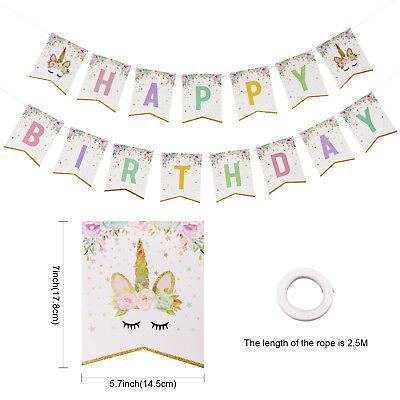 2.5m Glitter Unicorn Happy Birthday Banner Baby Shower Background Hanging Banner ()