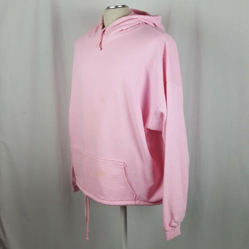 Vtg 80s Pullover Hoodie Sweatshirt OS Pink Cotton Draw String Waist Pocket Hood