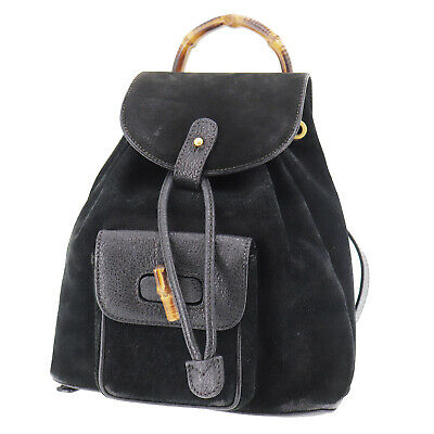 GUCCI Bamboo Backpack Hand Bag Black Suede Leather Vintage Authentic #Z399 S