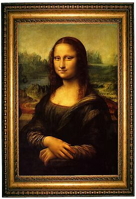 da Vinci Mona Lisa - Gold Framed Giclee Canvas Art Reproduction M 25x34