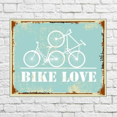 Bike love sign, bicycle sign, bicycle metal sign, garage signs tin, garage decor